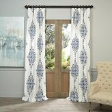 1 Piece 108 Inch Kerala Blue Color Printed Girls Cotton Twill Curtain Single Panel, White Floral Pattern Drapes, Kids Themed Novelty Flower Damask Bohemian Energy Efficient Luxurious, Cotton Polyester