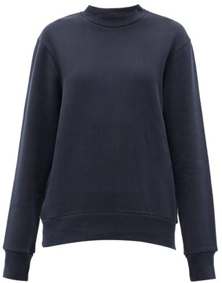 Raey Crew-neck Cotton-blend Sweatshirt - Navy