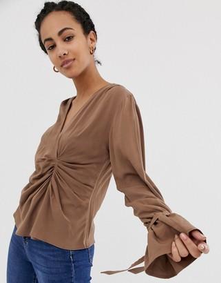 Asos Design DESIGN long sleeve gathered drape front top