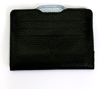 Hiva Atelier Double Card Holder Black & Metallic Baby Blue