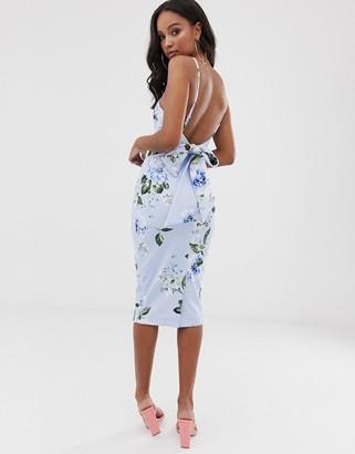 Asos Design DESIGN Floral tie back midi dress-Blue