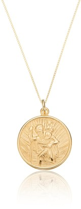 Lily & Roo Solid Gold Medium Round St Christopher Necklace