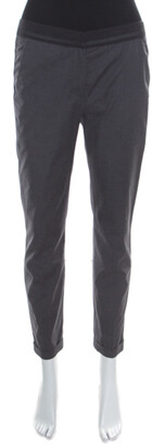 Brunello Cucinelli Dark Grey Cotton Ribbed Waist Trim Cuffed Hem Pants M