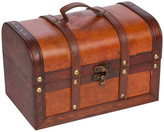 Trunks Trademark Innovations Small Wood and Leather Decorative Chest