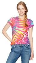 Liquid Blue Women's Rainbow Nebula Tie Dye Long Length Juniors Graphic Tee