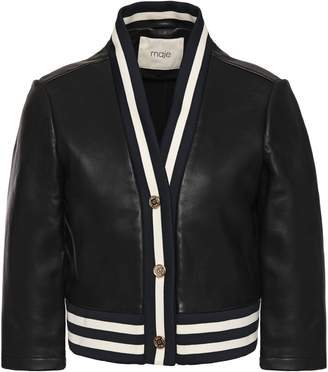 Maje Cropped Leather Jacket
