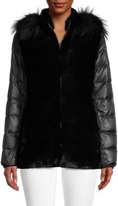 Glamour Puss Fox Fur-Trim Hooded Jacket