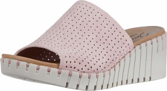 Skechers PIER AVE - Urban Escape - Soft Suede Upper in a Wedge Heeled Casual Comfort one Band Slide Sandal Pink