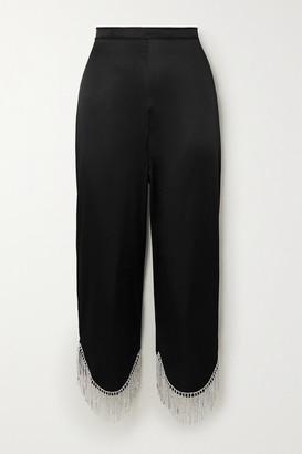 Oseree Cropped Crystal-embellished Satin Wide-leg Pants - Black