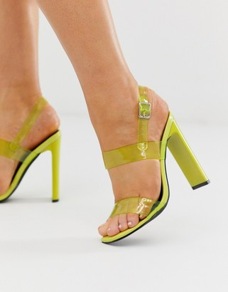 Truffle Collection neon clear strap heeled sandals-Green