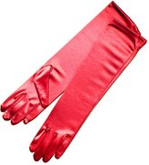 "ZaZa Bridal 15.5"" Long Shiny Stretch Satin Dress Gloves Below-The-Elbow Length 8BL"