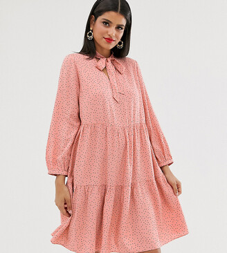 New Look Tall pussey bow smock dress in pink polka dot