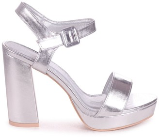 Barely There Linzi ARETHA - Silver Metallic Platform Heel