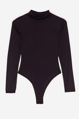 Nasty Gal Womens We Better Say High Neck Petite Bodysuit - Black