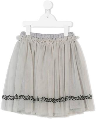 Fendi Kids Heart-Embroidered Flared Skirt
