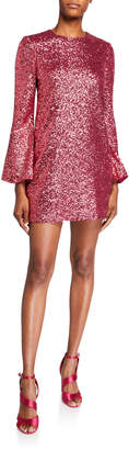 Jill Stuart Sequin Flare-Sleeve Mini Tunic Dress