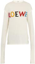 Loewe Logo-appliqué long-sleeved cotton-blend T-shirt