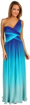 BCBGMAXAZRIA Timoa One Shoulder Ombre Gown (Blue Mist Combo) - Apparel