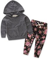 Qin.Orianna Baby Girls Floral Hoodie+ Floral Pant Set Leggings 2 Piece Outfits (18-24M, Grey)