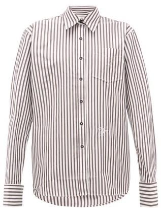 Wales Bonner Logo-embroidered Striped Cotton-poplin Shirt - Womens - Brown White