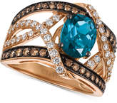 LeVian Le Vian® Chocolatier London Blue Topaz (2 ct. t.w.) and Diamond (9/10 ct. t.w.) Statement Ring in 14k Rose Gold, Only at Macy's