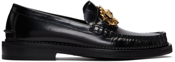 Versace Black Medusa Moccasin Loafers