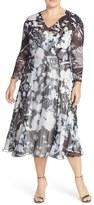 Komarov Plus Size Women's Print Chiffon A-Line Midi Dress
