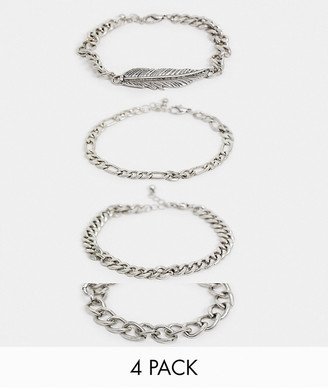 ASOS DESIGN chunky chain bracelet pack with feather charm in silver tone