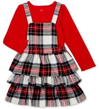 Wonder Nation Baby & Toddler Girls Long Sleeve Top & Tartan Plaid Jumper Dress, 2pc Outfit Set