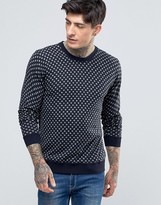 Scotch & Soda Jumper With Spot In Crew Neck Cotton In Navy