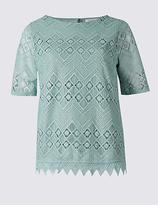 Classic Crochet Lace Short Sleeve T-Shirt