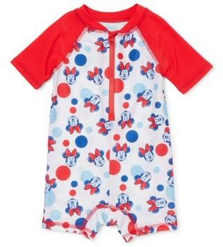Minnie Mouse Baby Girl One-Piece Rashguard Swimsuit