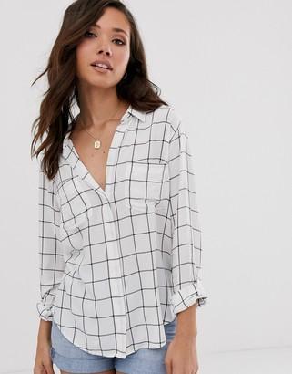 Abercrombie & Fitch drapey pinstripe shirt-White
