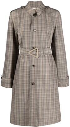 Bottega Veneta Check Single-Breasted Belted Coat