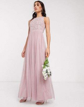 Beauut embellished maxi dress with pleated skirt in light pink