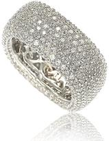 Suzy Levian Cubic Zirconia Sterling Silver Multi-Row Squared Eternity Fashion Ring