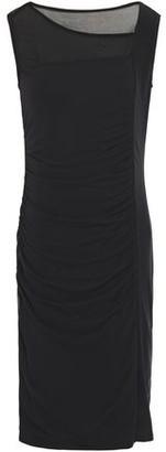 DKNY Tulle-paneled Gathered Stretch-jersey Dress