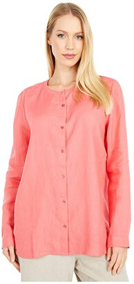 Eileen Fisher Round Neck Shirt (Pink Grapefruit) Women's Clothing