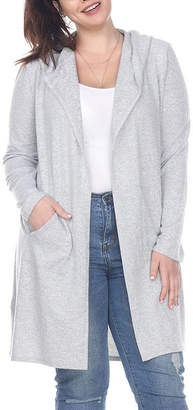 WHITE MARK White Mark-Plus Womens Hooded Neck Long Sleeve Open Front Cardigan