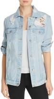 Aqua Oversized Distressed Denim Jacket - 100% Exclusive