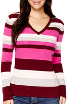 ST. JOHN'S BAY Long-Sleeve V-Neck Ribbed Sweater