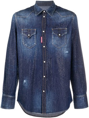 DSQUARED2 Rhinestone Denim Shirt
