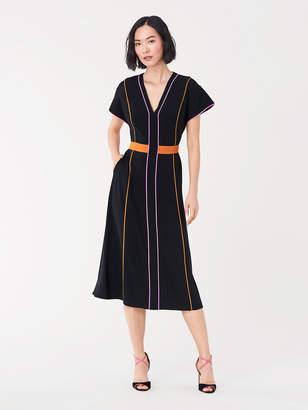 Diane von Furstenberg Davina Satin Back Crepe Midi Dress