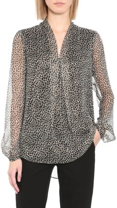 MICHAEL Michael Kors Leopard-Printed Pleated Blouse