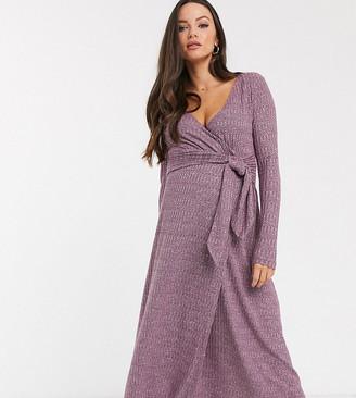 ASOS DESIGN Maternity long sleeve marl belted midi wrap dress in purple
