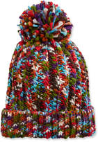 Neiman Marcus Multicolor Knit Beanie with Pompom