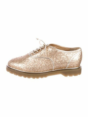 Charlotte Olympia Leather Trim Embellishment Oxfords Gold