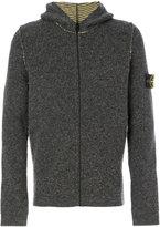 Stone Island zip up hooded cardigan - men - Polyamide/Spandex/Elastane/Wool/Polyacrylic - M