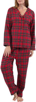 L Cera Plus Size Yarn Dyed Plaid Flannel Pajama Set