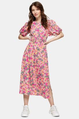 Topshop Pink Puff Sleeve Midi Dress